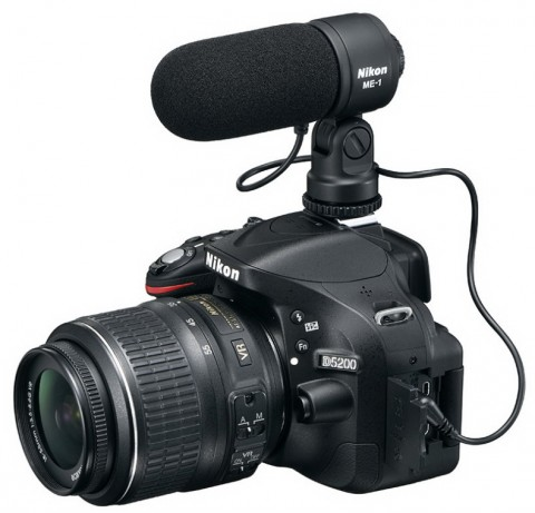 Nikon D5200 DSLR camera with external microphone