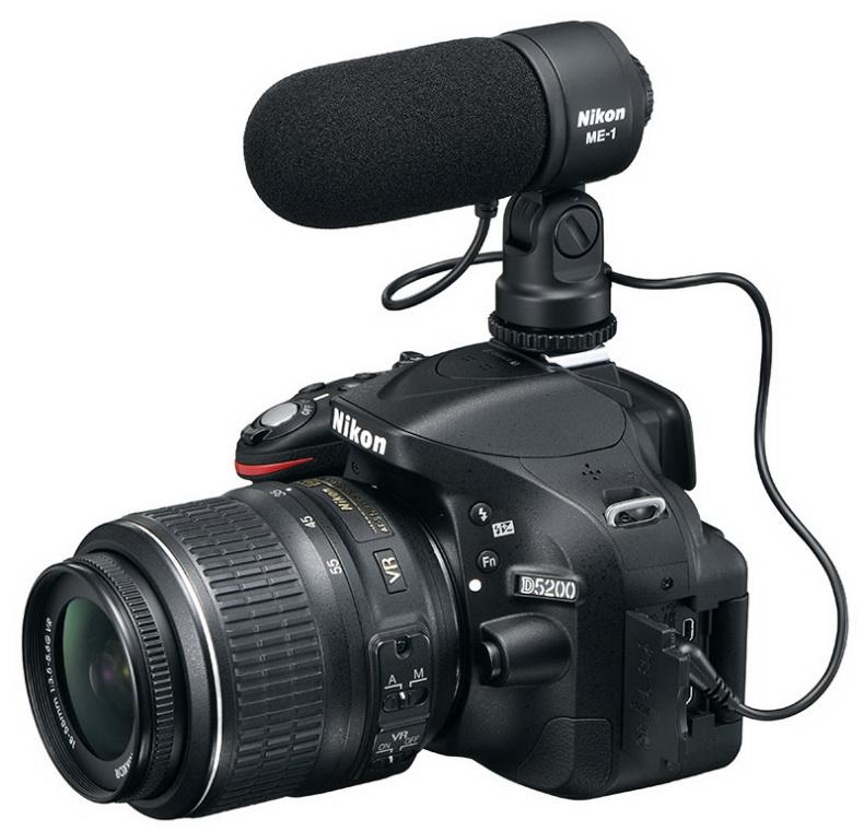 Nikon D5200 DSLR camera with external microphone