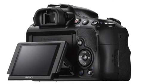 The tiltable display of the Sony A58