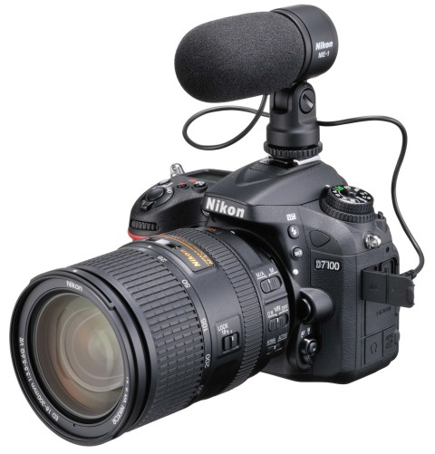 The D7100 with external microphone